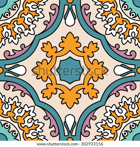 Beautiful seamless ornamental tile background. Vector illustration. Italian style - stock vector