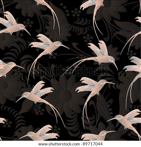 Beautiful seamless pattern.Colibri (hummingbird) with flowers.Vector eps 10 - stock vector