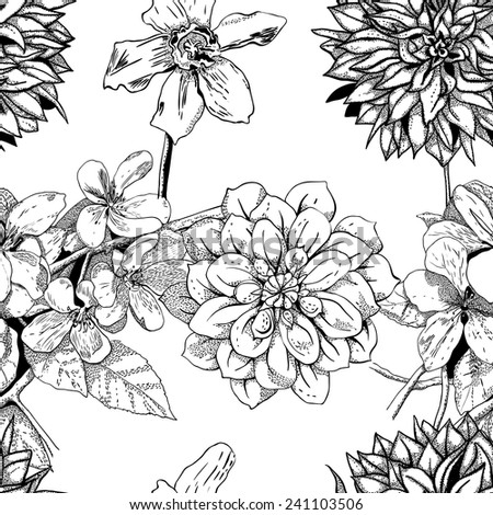Beautiful seamless pattern of the branches of apple blossom, dahlias and daffodils