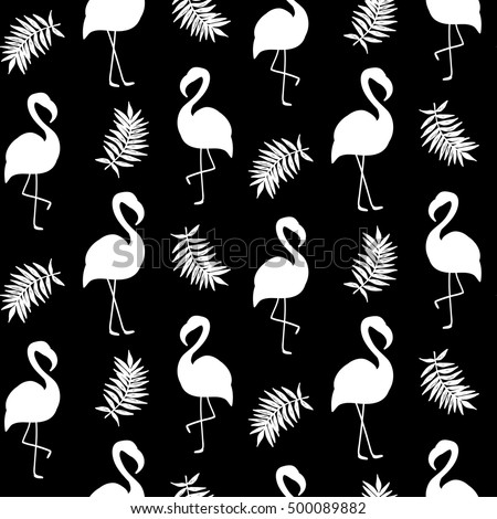 Beautiful Seamless Pattern With Black Flamingo Silhouette Isolated On White Trendy Fashion Textile Print
