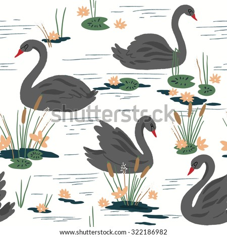 Beautiful seamless pattern with black swans on the lake. Vector illustration - stock vector