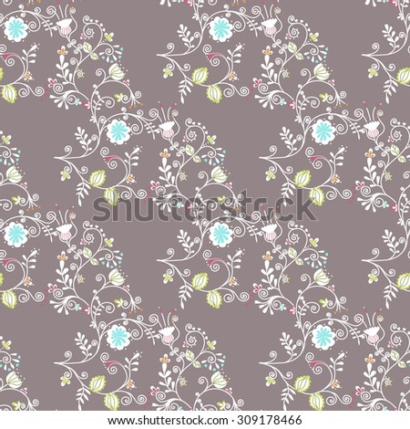 Beautiful seamless pattern with flowers - stock vector