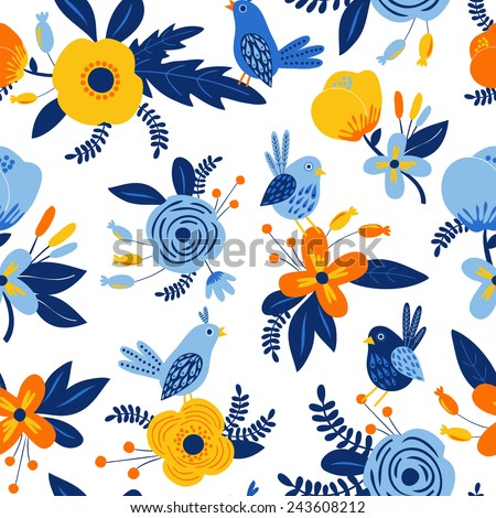 Beautiful seamless pattern with flowers and birds. Bright illustration, can be used for creating card, invitation card for wedding,wallpaper and textile - stock vector
