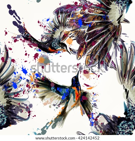 Beautiful seamless pattern with lily  flowers and birds  in watercolor style painted by spots - stock vector