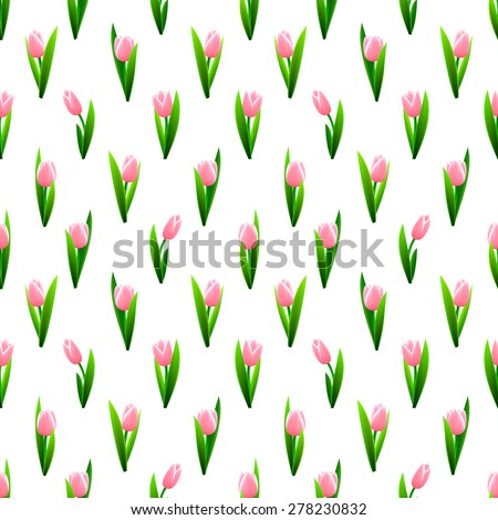Beautiful seamless pattern with pink tulip flowers. Vector illustration. - stock vector