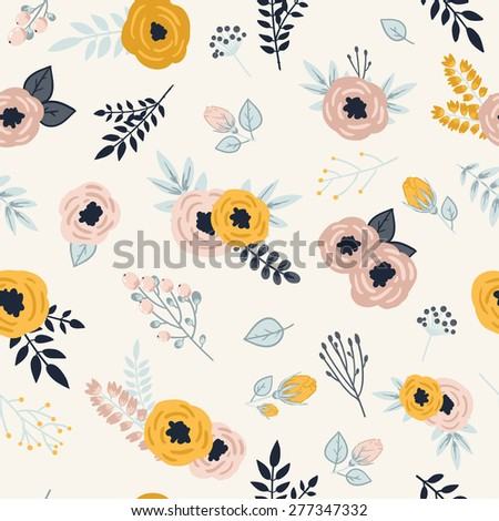 Beautiful seamless pattern with spring flowers. Bright illustration, can be used for greeting card, invitation card for wedding,wallpaper and textile.  - stock vector