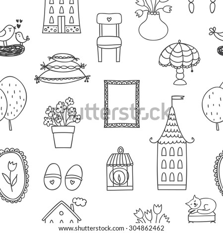 Beautiful seamless pattern with sweet home icon