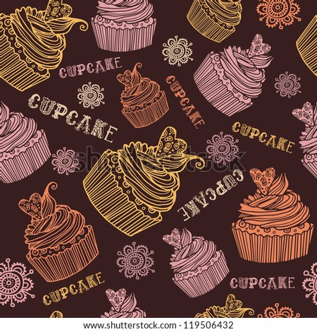 Beautiful  seamless pink background pattern set with various delicious cupcake
