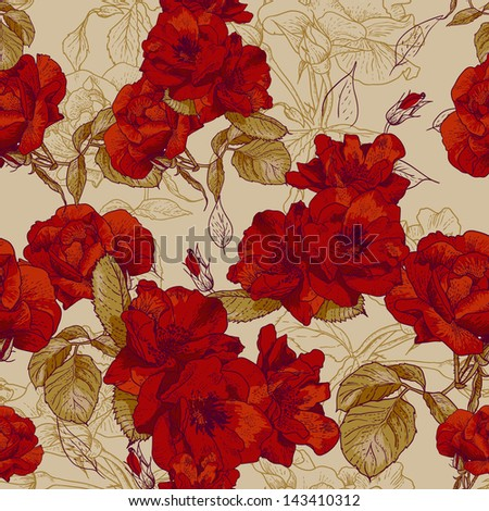 Beautiful Seamless Rose Background - stock vector