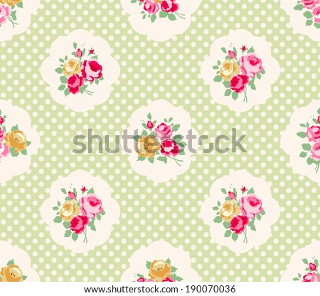 Beautiful Seamless rose pattern, polka dot background, illustration.  Pink, yellow and green color. Cottage shabby chic style. - stock vector
