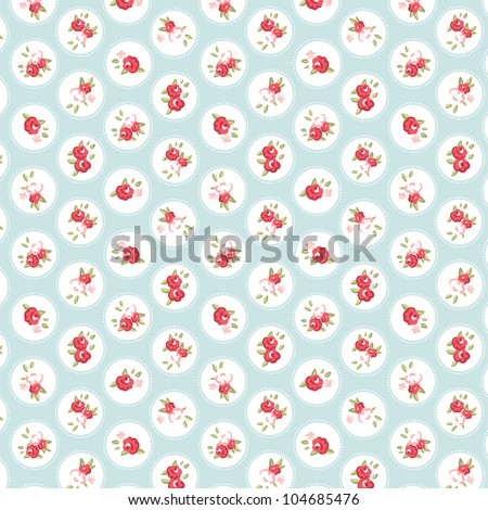 Beautiful Seamless rose pattern with blue background, vector illustration - stock vector