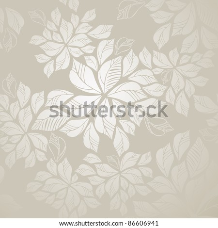 Beautiful seamless silver leaves wallpaper. This image is a vector illustration. - stock vector