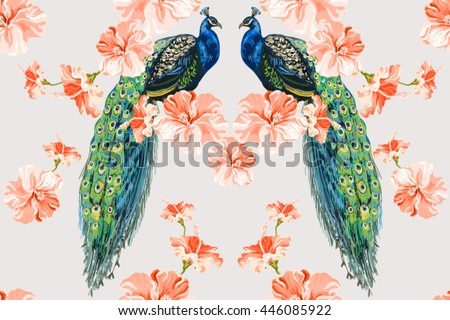 Beautiful seamless vector floral pattern background with peacock, hibiscus. Abstract geometric texture - stock vector