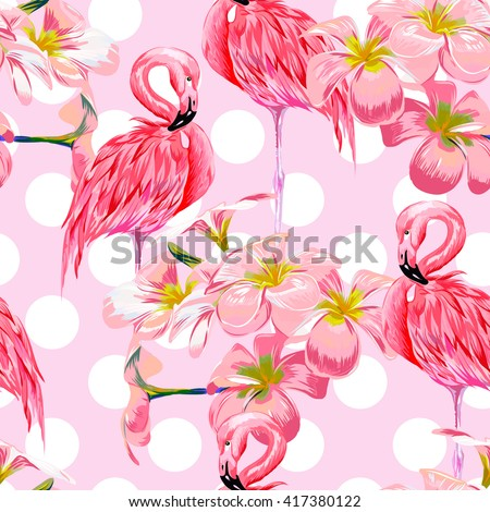 Beautiful seamless vector floral pattern background with pink flamingos, tropical flowers. Abstract geometric texture, polka dot - stock vector