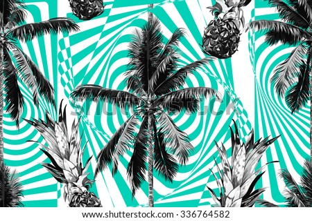 Beautiful seamless vector floral tropical jungle pattern background with palm trees and pineapples, abstract striped geometric pattern