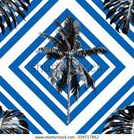 Beautiful seamless vector floral tropical jungle pattern background with palm trees, jungle leaves, abstract striped geometric pattern - stock vector