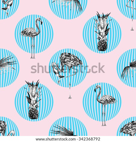 Beautiful seamless vector floral tropical pattern background with monochrome pineapples, flamingos, palm leaves. Abstract geometric texture, polka dots - stock vector