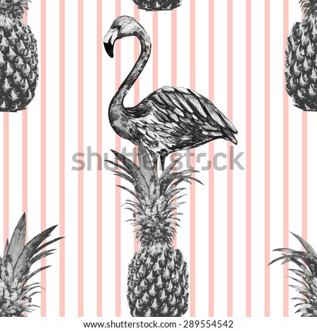 Beautiful seamless vector floral tropical pattern background with monochrome pineapples, watercolor flamingo. Abstract stripped geometric texture - stock vector