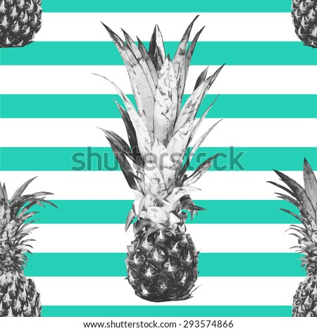 Beautiful seamless vector floral tropical pattern background with pineapples, abstract stripped geometric texture - stock vector