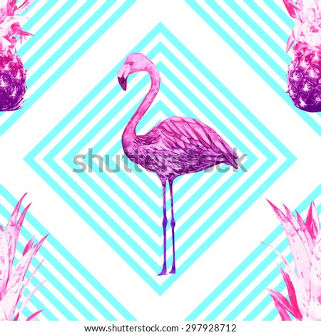Beautiful seamless vector floral tropical pattern background with pineapples, watercolor pink flamingo. Abstract stripped geometric texture - stock vector