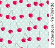 Beautiful seamless vector pattern with cherries - stock vector