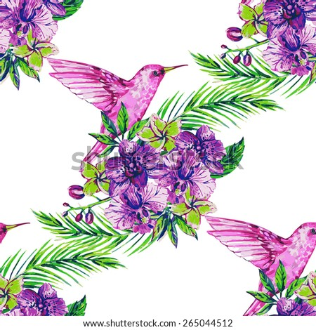 Beautiful seamless vector watercolor floral jungle pattern background. Hummingbirds, tropical flowers, palm leaves and plants, exotic print