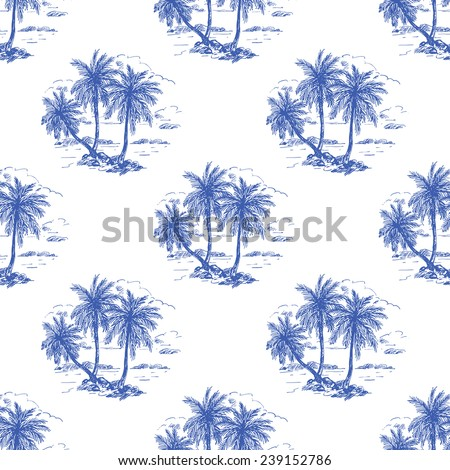 Beautiful seamless vintage floral pattern background. Landscape with palm trees - stock vector