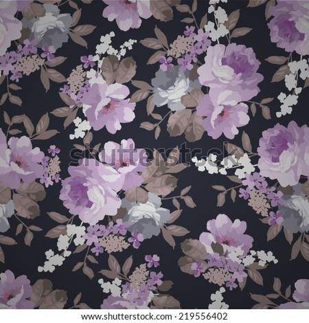 Beautiful  Seamless  Vintage floral pattern with roses on a black background - stock vector