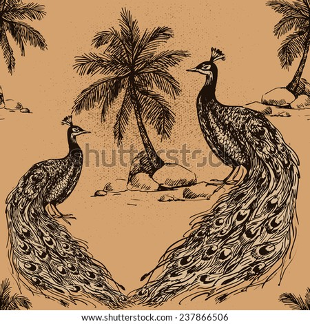 Beautiful seamless vintage tropical jungle floral pattern background. Peacock with palm trees on beige background - stock vector