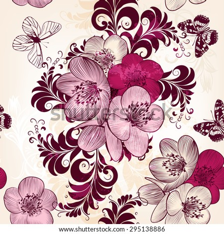 Beautiful seamless wallpaper pattern with hand drawn flowers - stock vector