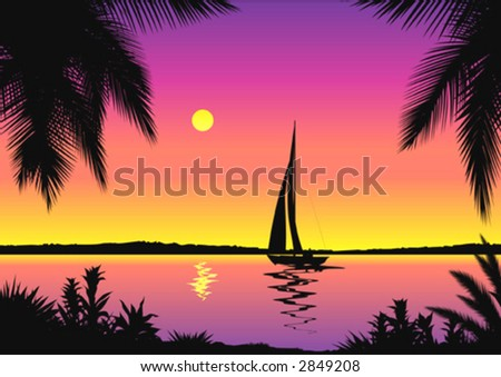 Beautiful Seascape - stock vector