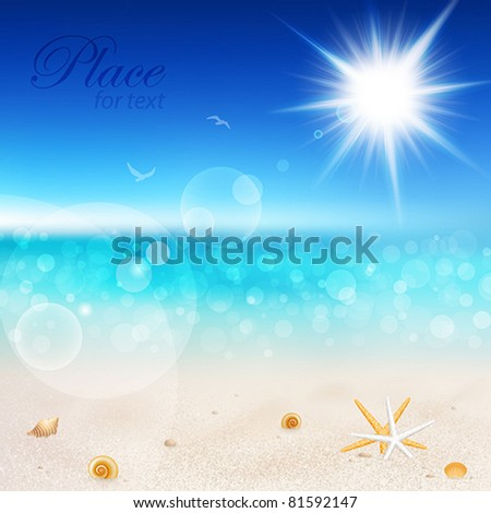 Beautiful seaside view on sunny day with sand and shells. - stock vector