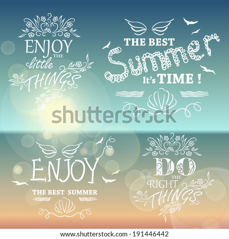 Beautiful Seaside View Poster. Set of Vector background with Typography. Graphic message for your summer design. - stock vector