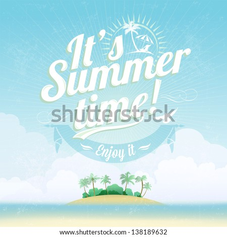 Beautiful Seaside View Poster. Vector background. With Typography - stock vector
