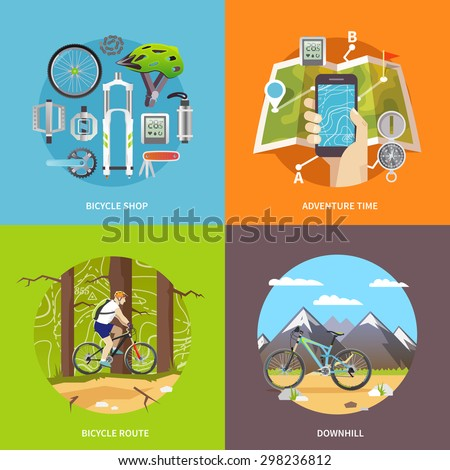 Beautiful set of colorful flat vector square banners on the theme: mountain biking, cycling, bike store, downhill. All items are created with love especially for your amazing projects. - stock vector