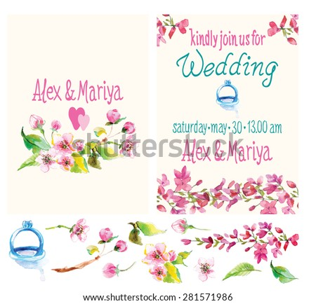 Beautiful set of invitation cards with watercolor flowers elements. Wedding collection, Vector - stock vector