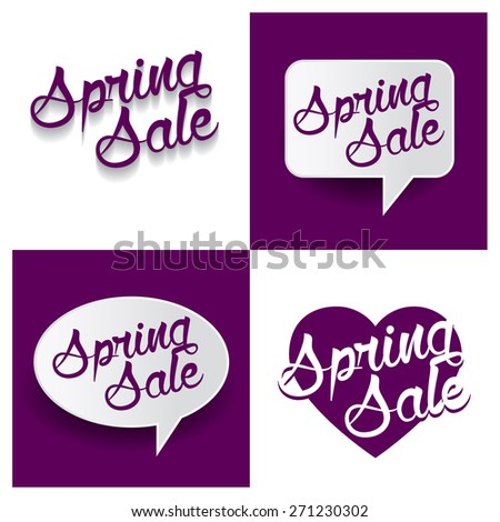 Beautiful set of Spring Sale Hand lettering handmade vector calligraphy purple background set. vector call out Spring Sale letter. heart shape Spring Sale text - stock vector
