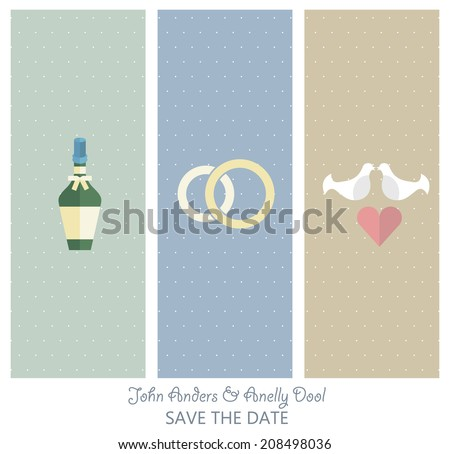 Beautiful set of 3 stylish vertical banners, wedding invitations. Wedding icons set, flat design vector - stock vector