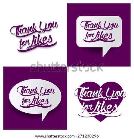 Beautiful set of Thank you For Likes Hand lettering handmade vector calligraphy purple background set. vector call out Thank you For Likes letter. heart shape Thank you For Likes text - stock vector