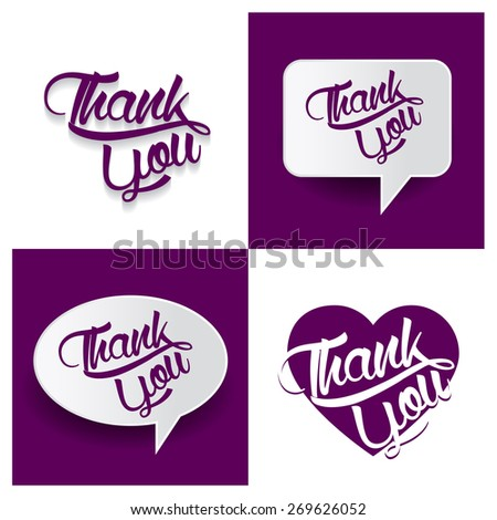 Beautiful set of Thank You Hand lettering handmade vector calligraphy purple background set. vector call out thank you letter. heart shape love thank you text - stock vector