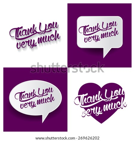 Beautiful set of Thank You Very Much Hand lettering handmade vector calligraphy purple background set. vector call out thank you Very much letter. heart shape love thank Very much you text - stock vector