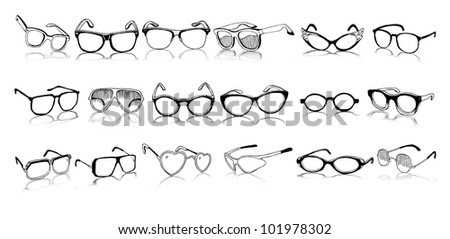 Beautiful Set of Vintage and Modern Glasses (vector illustration) - stock vector