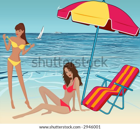 Beautiful sexy girls on the beach-vector