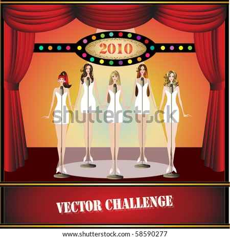 beautiful sexy woman singing in red stage with spotlight - stock vector