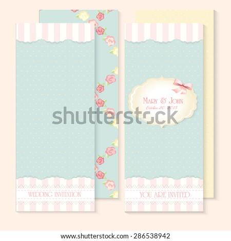 Beautiful shabby chic wedding invitations. Vector illustration - stock vector
