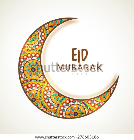 Beautiful shiny floral design decorated crescent moon for Muslim community festival, Eid celebration. - stock vector
