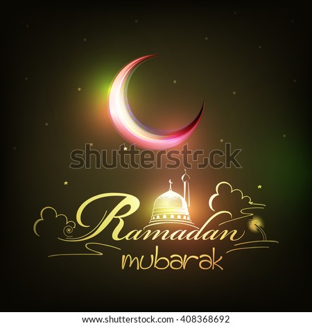 Beautiful shiny moon and creative text of Ramadan Mubarak with mosque scene wallpaper design for Muslim's
