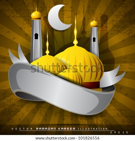 Beautiful shiny Mosque or Masjid, silver ribbon  and moon on modern abstract rays background with grungy effect. EPS 10. Vector illustration. - stock vector