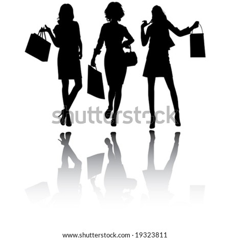 Beautiful shopping girls, vector silhouettes - stock vector