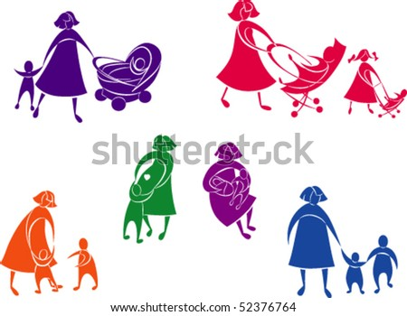 Beautiful silhouettes concepts of mother and children. The color and white part are grouped separately.  The figures for each color are grouped separately. Color is easy to change - stock vector